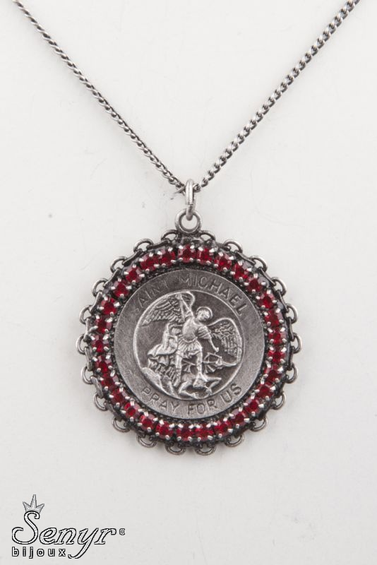 St. Michael with crystals and lace