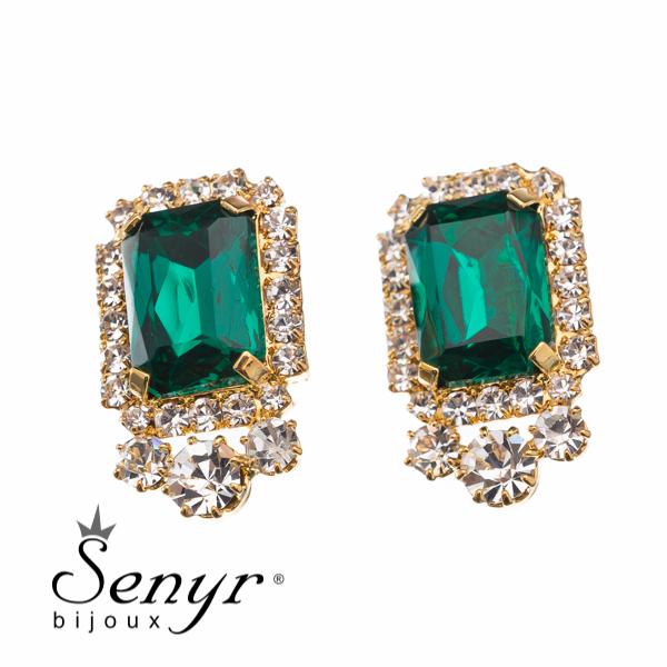 Earrings Golden Majesty Emerald