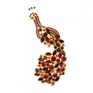 Brooch Peacock Red Gold