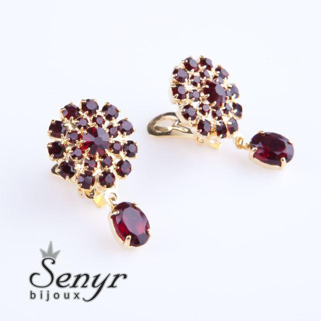 Garnet flowers earrings
