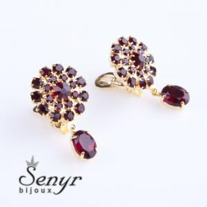 Garnet flowers earrings